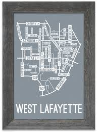 Lafayette Indiana Map West Lafayette Indiana Street Map Print Street Posters