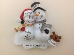 personalized christmas ornament pregnant snowman couple with