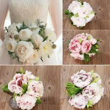 Home Floral Decor 5 Bouquet Vintage Artificial Peony Silk Flower Home Room