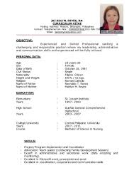 Sample Resume In The Philippines by Resume Jai Project Development Officer Ii