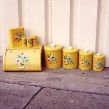 yellow canister sets kitchen orange kitchen canisters thing