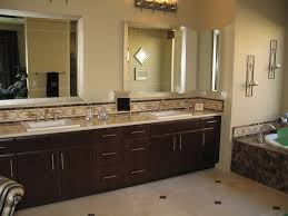 magnificent contemporary master bathroom with classic brown contemporary master bathroom design with brown wooden vanity cabinet and frame wall mirror plus white under