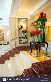 interior decor of the copacabana palace hotel reception area in