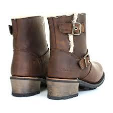 womens caterpillar boots uk womens caterpillar kick brown leather fur trim ankle biker