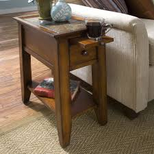 narrow sofa side table with pull out coffee tray and single drawer