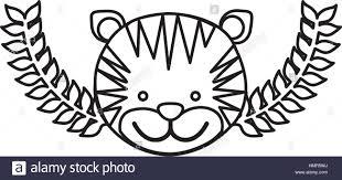 cute tiger cartoon icon vector illustration graphic design stock