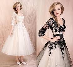tea length wedding dresses with half sleeves scoop 1 2 sleeve