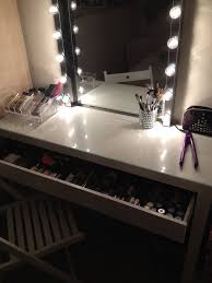 Narrow Makeup Vanity Table Dressing Table Mirror With Lights Ikea Youtube Pertaining To