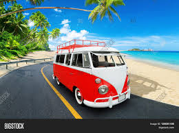 volkswagen bus beach retro beach van vintage bus beach image u0026 photo bigstock