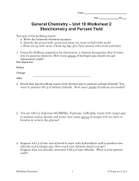unit 10 worksheet 2 general chemistry stoichiometry and percent yield