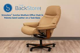 stressless sunrise office desk chair paloma sand leather by