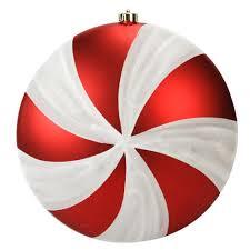 large peppermint twist swirl shatterproof disc ornament 12
