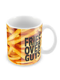 Buy Coffee Mugs Online India by Fries Over Guys Typography Coffee Mugs By Madanyu Ceramic