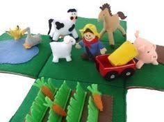 Toy Barn With Farm Animals Barn And Farm Animals Pattern Red Felt Barn Felt Barnyard