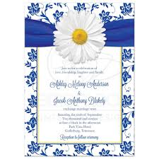 royal blue wedding invitations wedding invitation royal blue floral damask ribbon