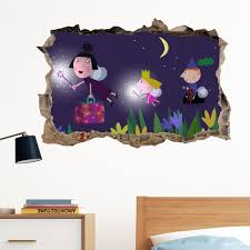 ben and holly night in wall crack decal sticker wall art kids gift ben and holly night in wall crack decal sticker wall art kids gift bedroom xmas