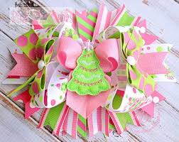 christmas hair bows pink christmas hair bow ready to ship