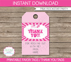 rockstar party favor tags pink thank you tags