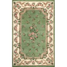 Green And Brown Area Rugs American Home Rug Co Floral Garden Aubusson Light Green Ivory