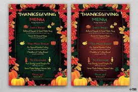 thanksgiving menu template v3 flyer templates creative market