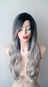 how to achieve dark roots hair style gray wig lace front wig ombre wig dark roots pastel gray wig