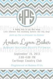 chevron monogram blue grey baby shower invitation printable