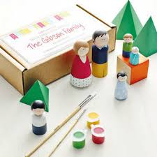 peg doll kit family of 3 wooden dolls paint your own