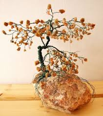Autumn Home Decor Hand Crafted Large Bonsai Gem Tree Sculpture Autumn Jasper Gems