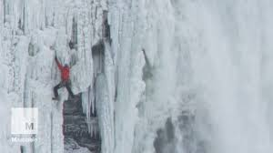 daredevil climbs 140 feet frozen niagara falls mashable
