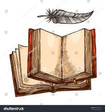 open book feather pen sketch copy stock vector 696913621