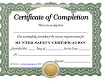 free printable hunter safety certification certificate templates