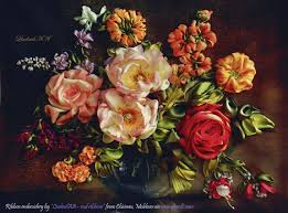 ribbon embroidery flower garden ribbon embroidery masterpieces by ludmila from chisinau moldova
