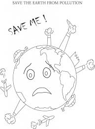 simple drawing of water pollution save the earth coloring pages