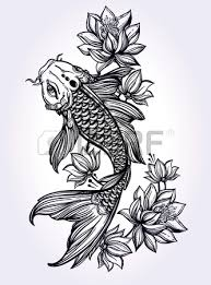 hand drawn koi fish japanese carp line drawing with brush stroke