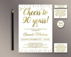 90th birthday invite etsy