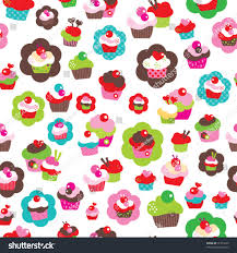 seamless cute cup cake background pattern stock vector 76713220