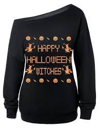 witches skew neck halloween sweatshirt halloween sweatshirt