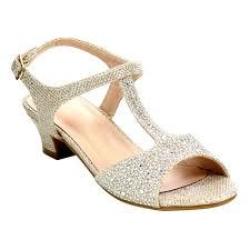 Rhinestone Sandal Heels Blossom Girls U0027 Rhinestone Glitter Low Heel T Strap Sandals