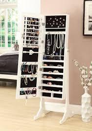 standing mirror jewelry cabinet amazon com white mirrored jewelry cabinet armoire w stand mirror