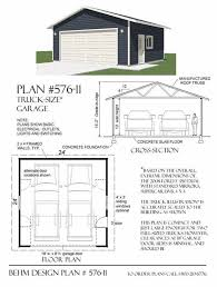 garage plans 2 car truck size garage plan 576 11 24 u0027 x 24