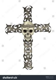 skull cross tattoo hand pencil drawing stock illustration