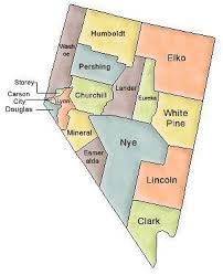 nevada counties map map of nevada and county map