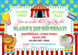 birthday invites cute and funny cartoon design circus birthday