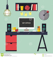 Home Interior Vector by Home Office Flat Interior Vector Illustration Stock Vector Image