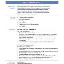 cover letter resume sample waiter waitress waiter resume sample