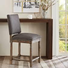 bar stools wooden farmhouse bar stools with fabric nailhead