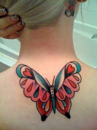 traditional butterfly tattoo on neck tattooimages biz