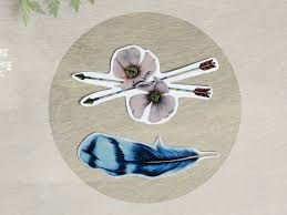 temporary tattoo bluejay feather and wild roses includes 2