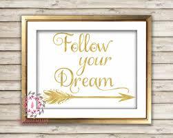 follow your dream arrow gold tribal printable wall art print