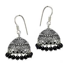 metal earings buy s shape print black black metal jhumka earrings online